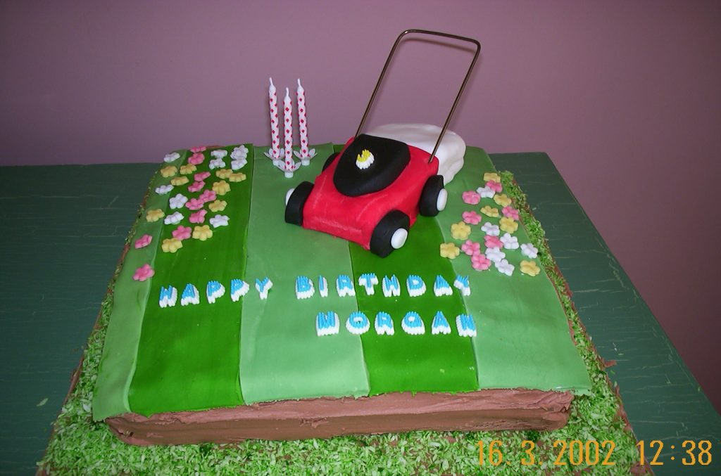 Novelty birthday cake with a lawnmower and grass made of icing